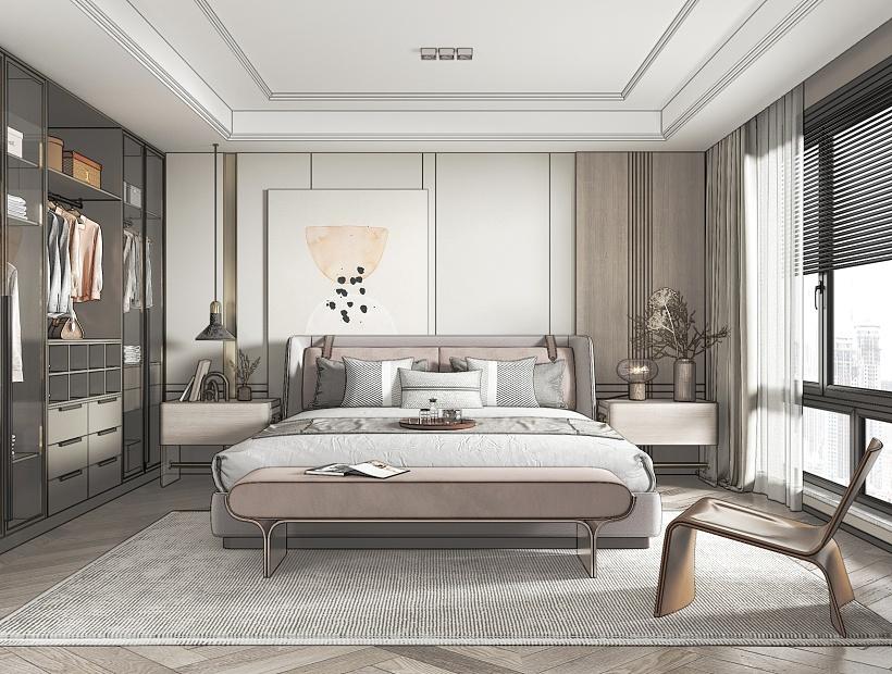 现代轻奢卧室su模型下载