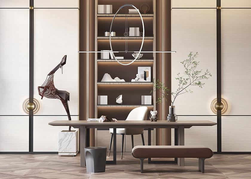 新中式书桌椅组合-1015330